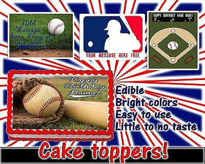 Baseball Edible cake toppers decoration tops sugar sheet birthday picture paper - Cake Top Decorations