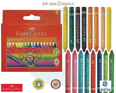 FABER CASTELL - 16 x 75mm Wax Crayons Assorted Colours Drawing Shading Art Craft