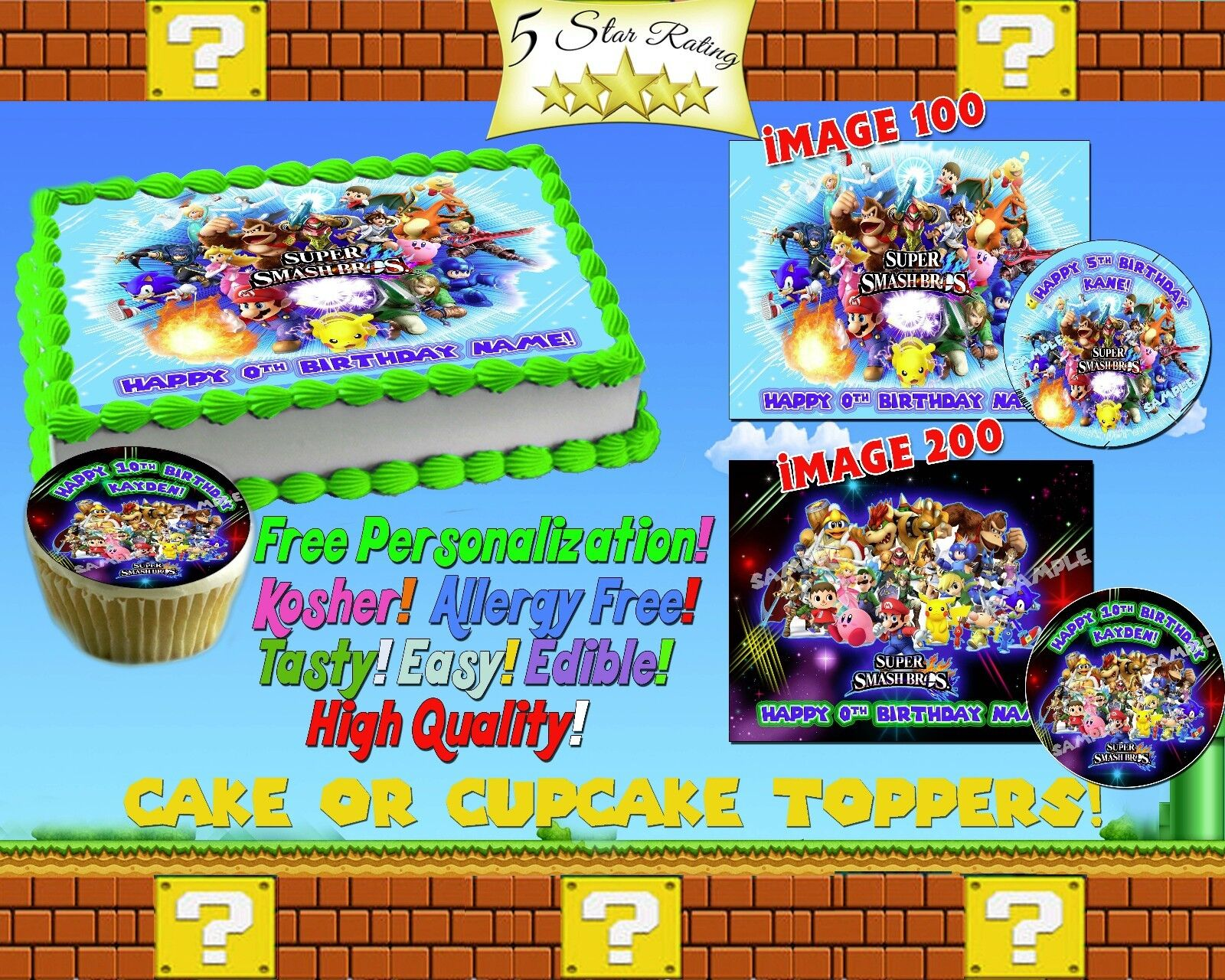Super smash bros Birthday Cake topper Edible picture sugar s