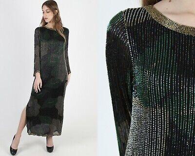 Vtg 70s Black Beaded Silk Dress Floral Metallic Cocktail Party Evening Long Maxi 70s Black Maxi Dress