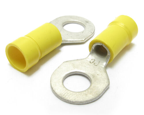 """10-12AWG 1/4"""" Stud, Yellow Ring Terminal, 100pc"""