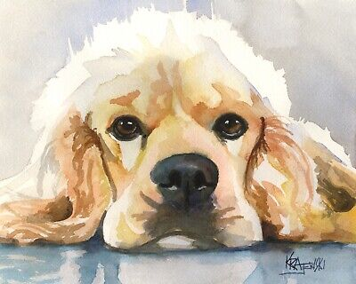 Cocker Spaniel Art Print from Painting   Gifts, Poster, Picture, Decor 11x14