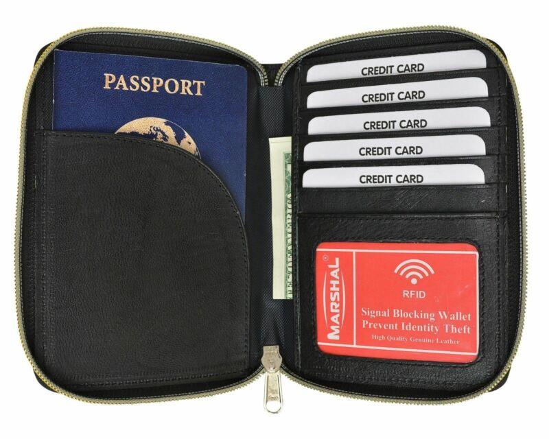 RFID Travel Organizer Wallet Documents Zipper Case Passport Card ID Holder Black