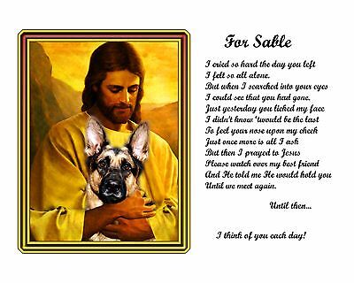 German Shepherd Memorial Picture w/Jesus/Poem Personalized w/Dog's Name Pet-Loss