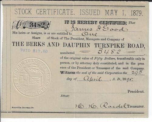 PENNSYLVANIA 1895 The Berks & Dauphin Turnpike Road Stock Certificate