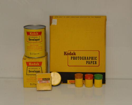 Vintage Kodak Paper Developer Film Cannister and Filters Photography Display