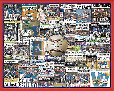 Chicago Cubs 2016 World Series Newspaper Collage Poster  16X20  Unframed