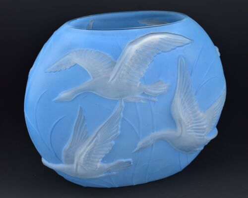 Phoenix Art Glass Pillow Vase with Flying Geese and Original Label