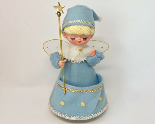 Vintage Christmas Angel, Blue Felt Angel, Revolving Musical Roman Kogei Japan