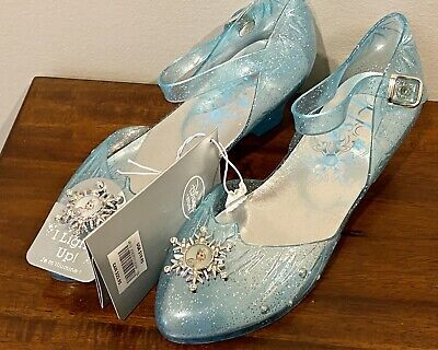 Disney Store Frozen Elsa Slippers Costume Shoes Light Up Heels Blue Sz 2/3 NWT
