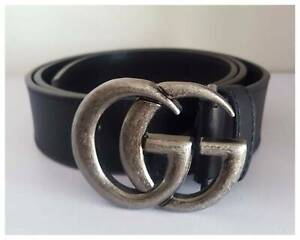 d1c57b4775d GUCCI Marmont Black Leather Belt With Silver Distressed GG Hardwa ...