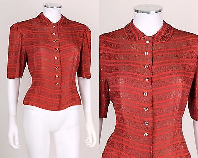 VTG 1930s CORAL GOLD EMBROIDERED STRIPED SHORT SLEEVE BLOUSE TOP SZ M