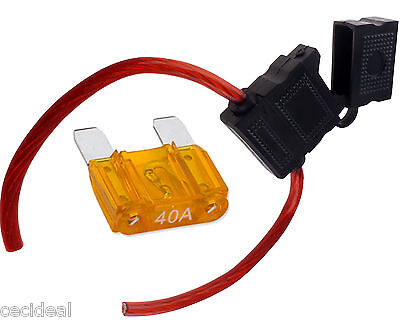 Maxi Blade Inline Fuse Holder 8 Gauge AWG Wire Waterproof Cover Free 40 Amp Fuse