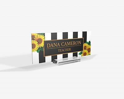 Personalized Strip Line Sunflowers Name Plate For Desk Custom Office Decor Nam