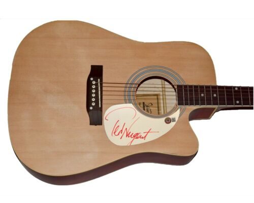 Ted Nugent Signed Autographed Full Size Acoustic Guitar Beckett BAS COA