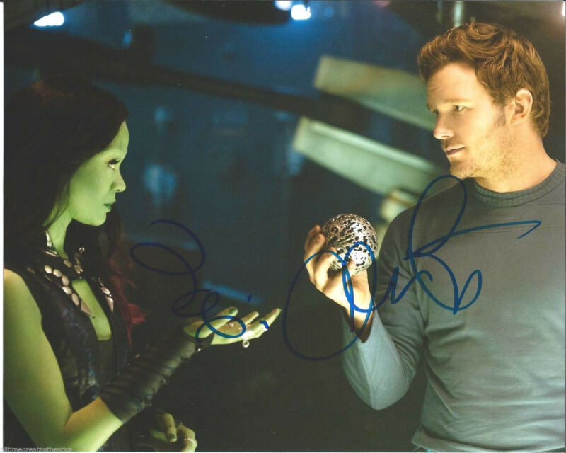 CHRIS PRATT ZOE SALDANA DUAL SIGNED 'GUARDIANS OF THE GALAXY' 8X10 PHOTO B w/COA