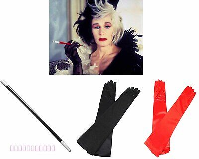 Cruella De Ville Halloween Fancy Dress Cigarette Holder Long Red Black Gloves K7