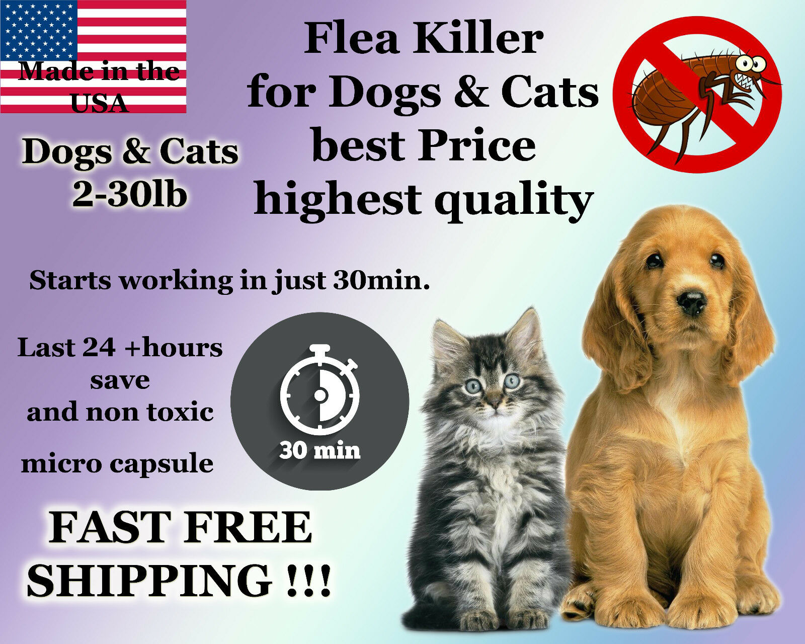 Купить healthyhome - 50 Capsules Instant Flea Killer Control small Dogs or Cats 2-30lb prevention NEW