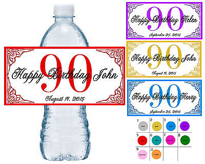 20 ~ 90th BIRTHDAY PARTY WATER BOTTLE LABELS ~ waterproof ink ~ assorted colors