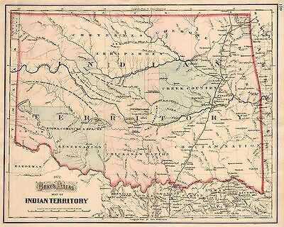 "1872 Indian Territory ~ Oklahoma Map Print 16"" x 20"""
