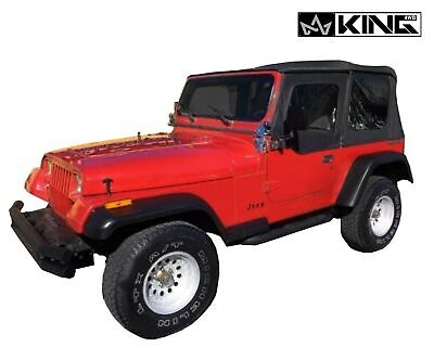 - King 4WD PRM Replacement Soft Top Blk Dia W/Tinted Window Jeep Wrangler YJ 87-95