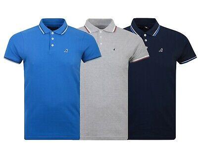 Mens Kangol Brand Plain 3 Button Polo Shirt Top Short Sleeved t Shirt Size S-2XL