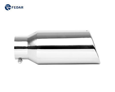 Fedar Rolled Angle Cut Exhaust Tip Tail Pipe 4 Inlet 6 Outlet 15 Long  Cut Rolled Tips