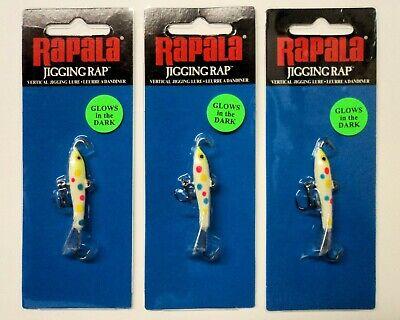"Rapala Jigging Rap 07 W7-GBT Glow Blue Tiger 2 3//4/"" 5//8 oz Ice Fishing Lure"