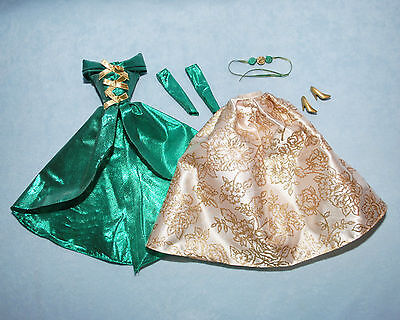 IVORY Gold & Green Holiday Winter BARBIE Formal Gown w/ Heels Sleeves Hair Acc.