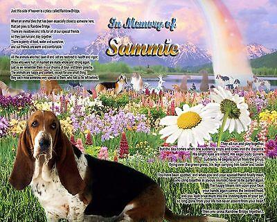 Dog Memorial.-Gift-Basset Dog Rainbow Bridge Memorial Personalized w/Name