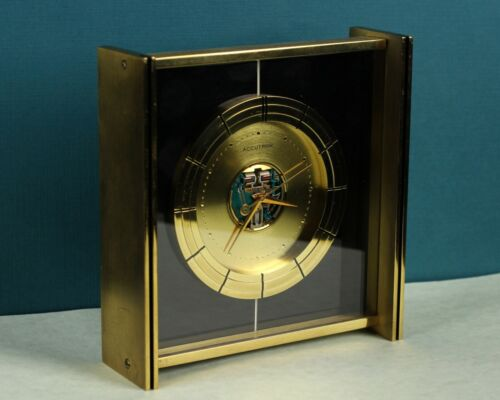 Bulova 214 Accutron Spaceview Brass Desk Clock