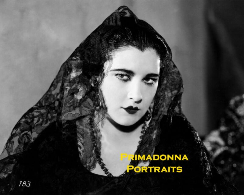 NITA NALDI 8X10 Lab Photo B&W Lace Veiled Silent Era VAMP LEGEND Portrait