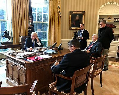 President Donald Trump In The Oval Office With Staff 8 5X11 Portrait Photo