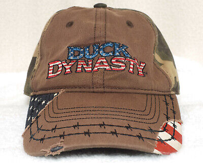 Duck Dynasty Hat strapback brown camouflage distressed style camo golf cap