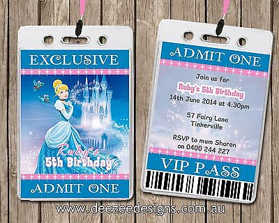 Disney Princess Personalised VIP Lanyard Birthday Invitations - Vip Lanyard Invitations
