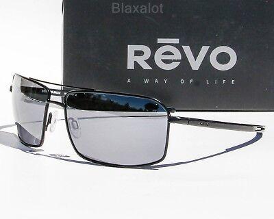 NEW REVO CAYO POLARIZED SUNGLASSES Black/Gunmetal/Chrome / Blue Water (Revo Aviators)