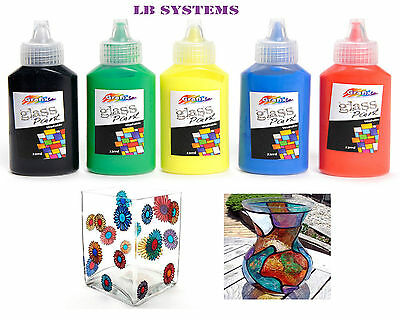 5 Pk GLASS PAINTS VIBRANT FAST DRYING ART & CRAFT KIDS HOBBY GIFT DECORATION