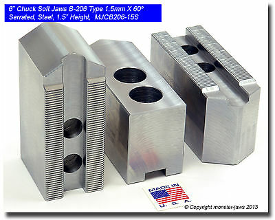 "PH-6300AF ALUMINUM SOFT JAWS FOR 1//16 x 90° SERR 5-6/"" CHUCK W//A 3/"" HT 3 PC SET"