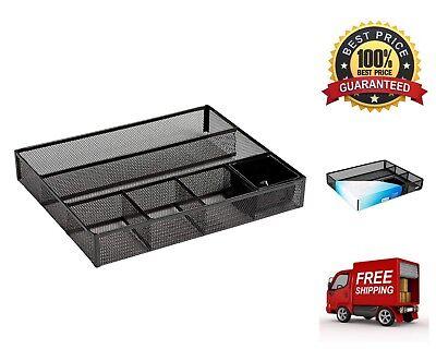 Deep Desk Drawer Organizer Metal Mesh Desk Pencil Office Supplies Storage Black