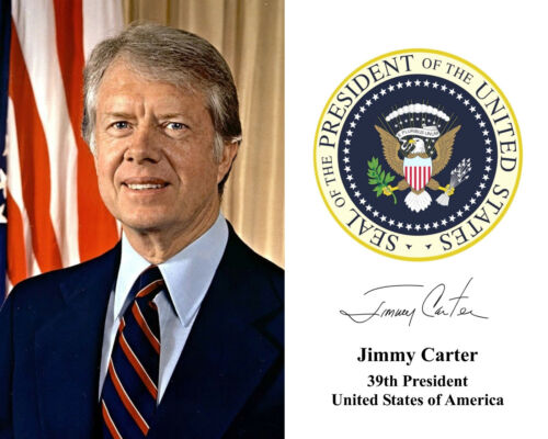 Jimmy Carter 39th President White House Portrait Autograph 8 x 10 Photo Picture