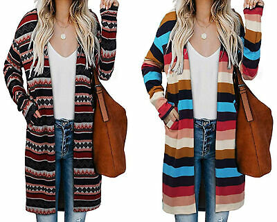 Women's Casual Open Front Long Sleeve Cardigan Sweater Stripe Coat with Pockets