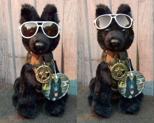 Black German Shepherd Plush Police Dog with K9 Badge Cool Shades K9 Fundraiser