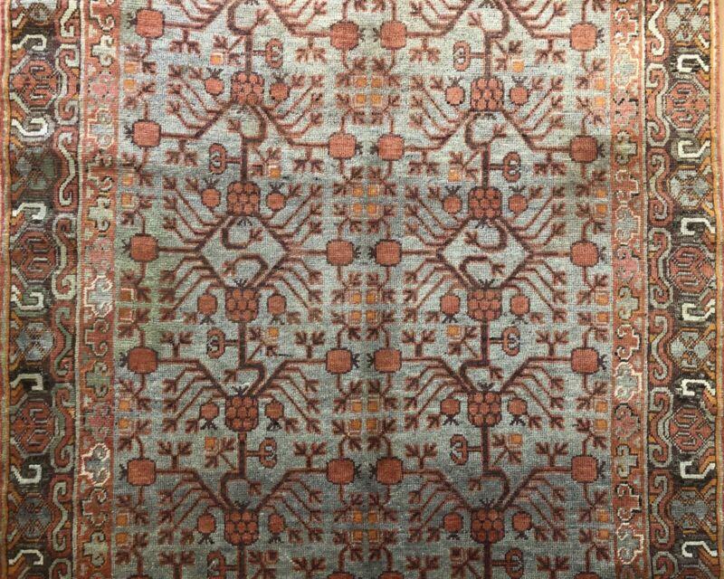 Special Samarkand - 1900s Antique Khotan Rug - East Turkestan Carpet 5.5 X 10.8