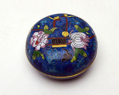 Vintage Cloisonne Trinket Box Jewelry powder Dish Floral Beautiful Blue