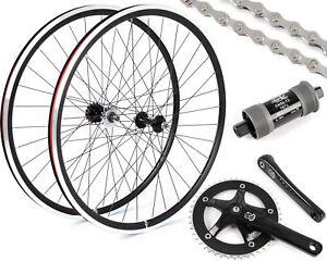 EighthInch Fixed Gear/Single Speed Conversion Kit 700c Wheelset Cranks // Black