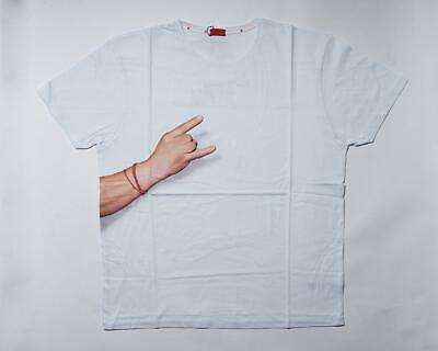 Isaia $250 NWT White Hand Gesture Graphic Print Cotton Short Sleeve T Shirt XL