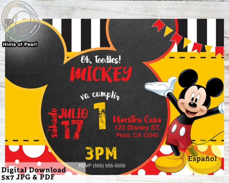 MICKEY MOUSE Spanish Birthday Invite Invitacion de Cumpleanos Digital Download