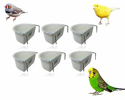 WUNDAPETS 7 CM D-SHAPE  PLASTIC BIRD BUDGIE CAGE HANG ON FEEDER COOP CUP 6PK
