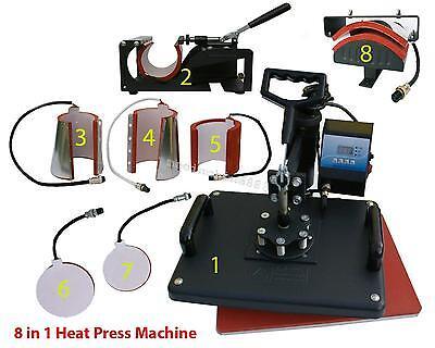 8 In1 Heat Press Machine Digital T-shirt Mug Hat Plate Transfer Sublimation Hot