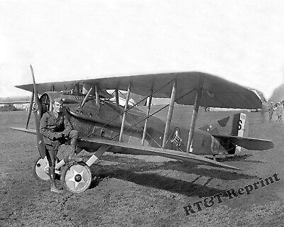 Photograph of Aviation Pilot Capt. Eddie Rickenbacker Next to His Spad 8x10